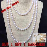 ECHT PERLE 9mm Perle Größe 100% Echtem Echt Süßwasser-zuchtperlen Lange Perle Halskette Mode für Nette Dame Weiblichen Geschenk heißer Verkauf