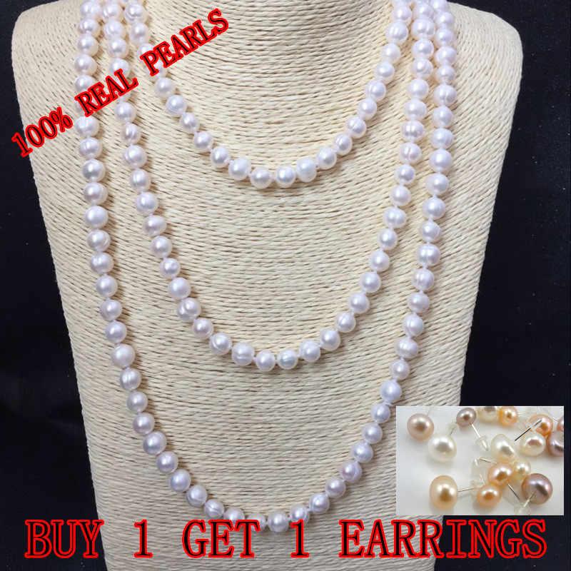 Prawdziwe perły 9mm rozmiar perły 100% z prawdziwej skóry, prawdziwe skórzana kanapa słodkowodne hodowlane długi naszyjnik z pereł moda dla Nice Lady kobiet prezent gorąca sprzedaż