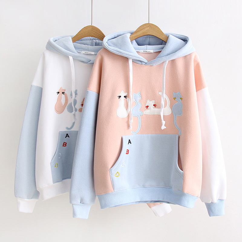 Harajuku Women Pullover Mori Girls CatCartoon Patch Printed Hoodies Kawaii Teens Student Sweet Korea Fashion Tops