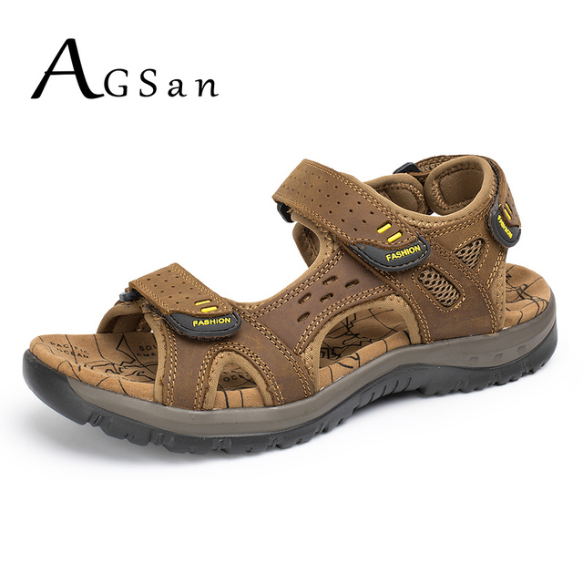 fb1da1727801 AGSan Classic Men Sandals Genuine Leather Sandals for Man Brown Breathable  Comfortable Beach Shoes Large Size 38-45 Slippers Men