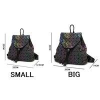 Women Laser Luminous Backpack Mini Geometric Shoulder Bag Folding Student School Bags For Teenage Girl Hologram Bao Backpack 2