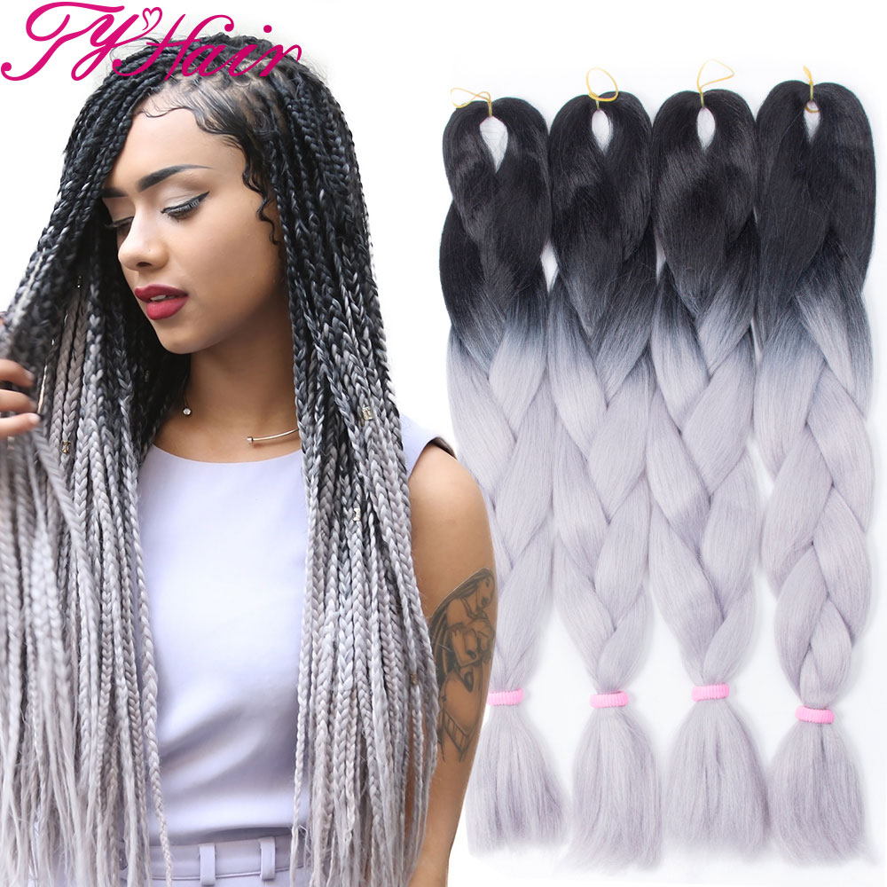 Ombre Silver Gray Crochet Braid Hair Synthetic Braiding Hair Two Tone ...