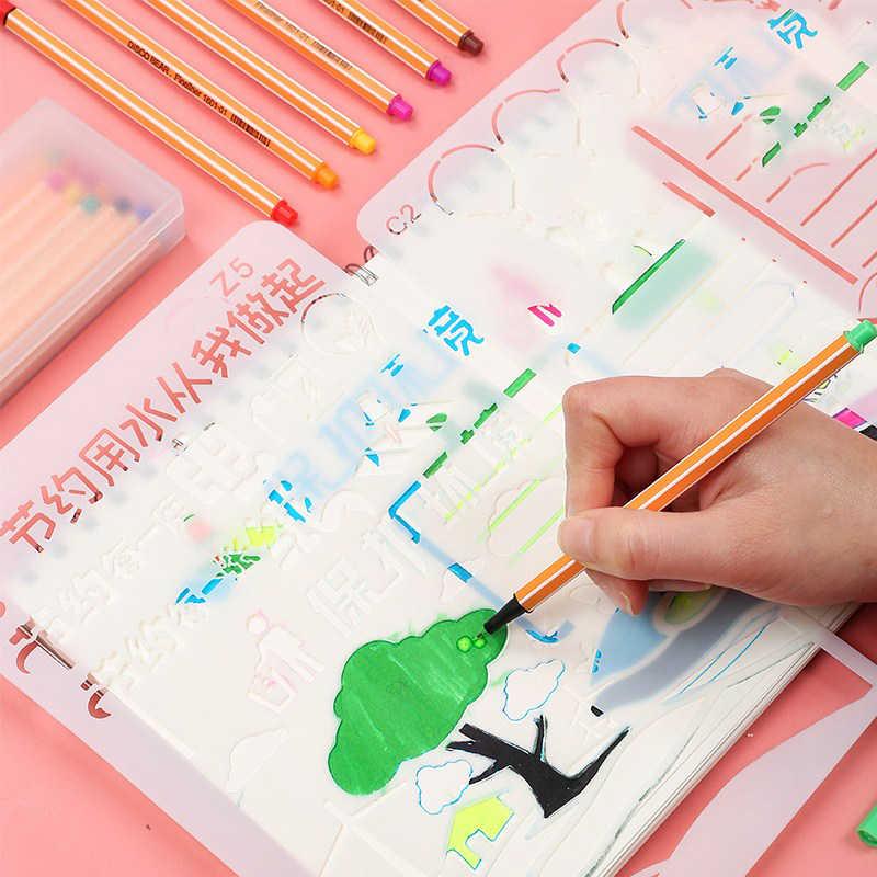 12 renk Anime Manga Fineliner kalemler grafiti kroki fırça kalem sanat belirteçleri çizim boyama kırtasiye okul malzemeleri