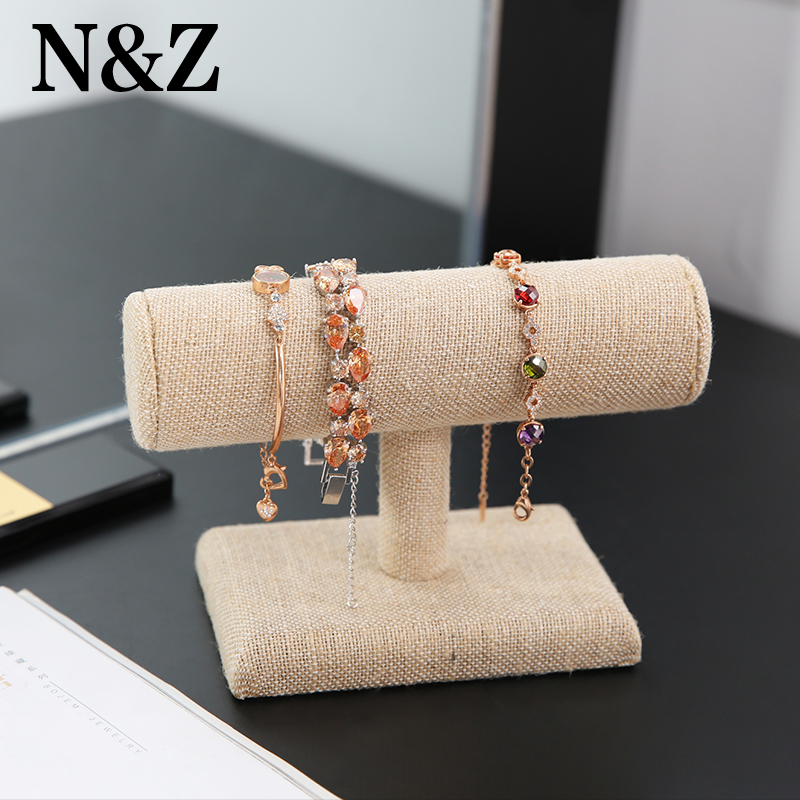 N&Z Small Linen Bracelet Display Stand Watch Bangle Jewelry Rack Bracelet Display Storage Rack Jewelry Photography Props
