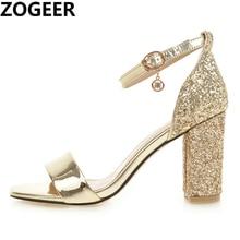 Luxury Gladiator Women Sandal Summer 2020 Fashion 8cm Block High Heel Sandal Casual Gold Silver Lady Wedding Party Shoe Big Size