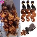 8A Ombre Brazilian Virgin Hair With Closure Brazilian Body Wave With Closure 3 Bundles With Closure Brazilian Hair With Closure