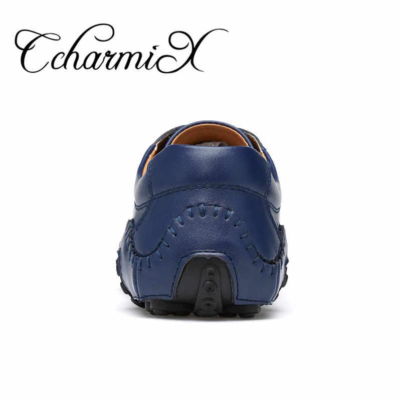 CcharmiX/мужская повседневная обувь ручной работы из спилка на шнуровке в итальянском стиле, синяя мужская обувь наивысшего качества, Мужская обувь для вождения, большой размер