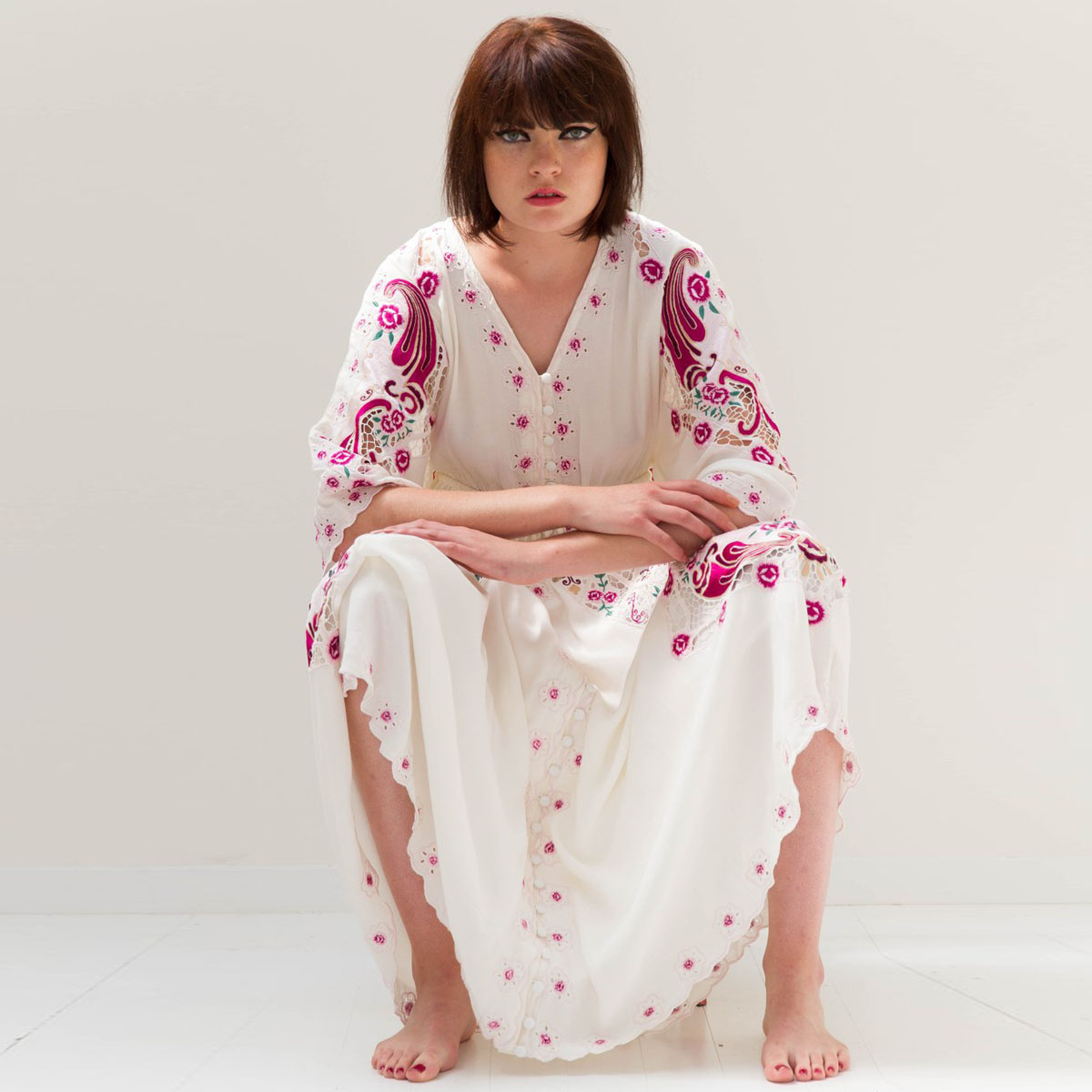 d90069c1811dc US $54.89 37% OFF Jastie Floral Embroidered Boho Dress V Neck Batwing  Sleeve Women Dresses Loose Plus Size Long Maxi Dress Summer Dresses  Vestidos-in ...