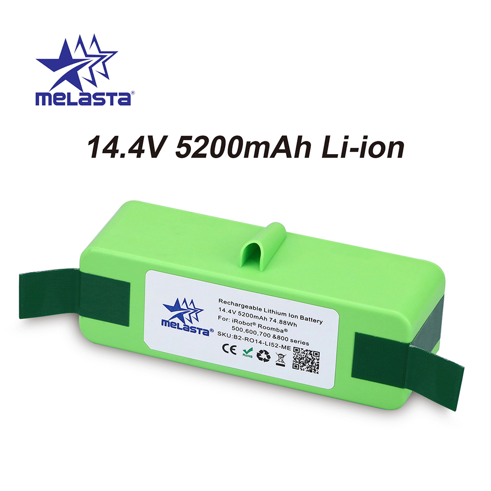5.2Ah 14.4V Li-ion Battery with Brand Cells for iRobot Roomba 500 600 700 800 Series 510 530 550 560 620 650 770 780 870 880 R35.2Ah 14.4V Li-ion Battery with Brand Cells for iRobot Roomba 500 600 700 800 Series 510 530 550 560 620 650 770 780 870 880 R3