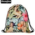 Deanfun 2017 nueva moda escolar mochila 3D impresión viajes softback hombre mujer mochila feminina mochila con cordón honolul