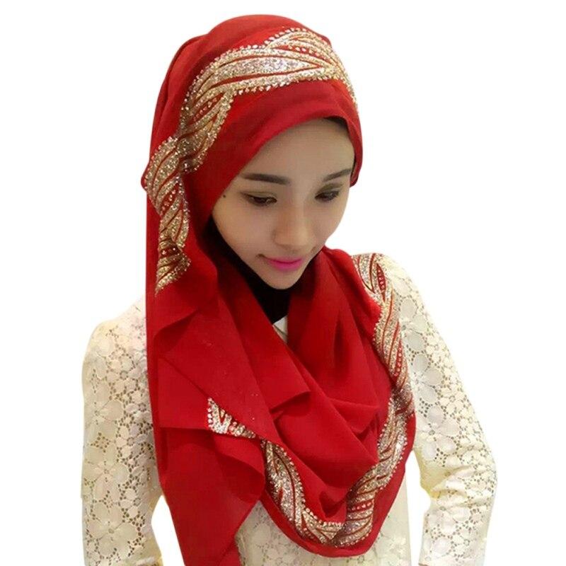 1 Pc Verstelbare Kleurrijke Sjaal Hijaabs Chiffon Sjaal Hijab Gold Cap Bone Islamitische Lady Head Cover Hijaabs Pailletten Nieuwste