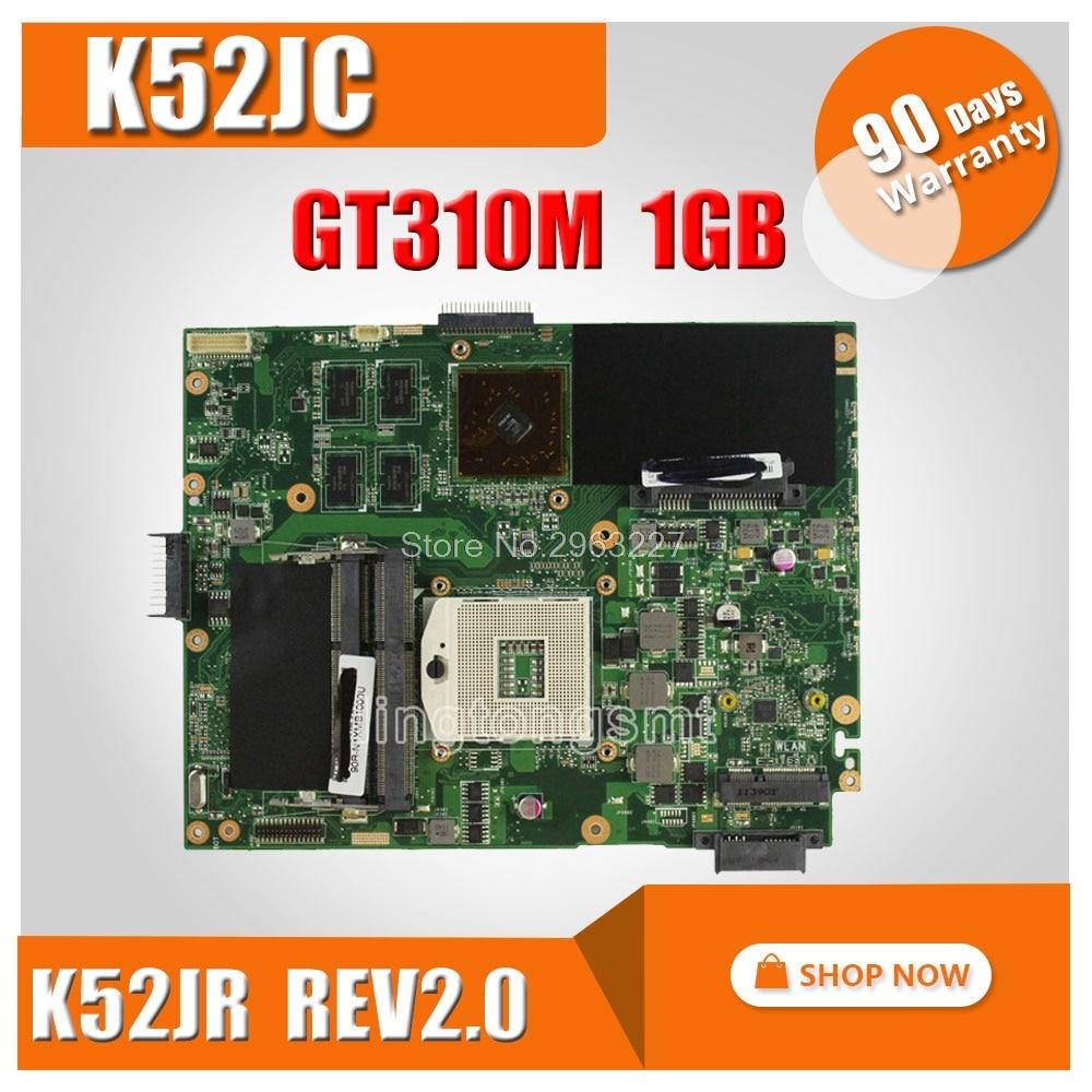 For ASUS Mainboard K52JC K52JR REV 2.0 PGA989 1GB GT310M HM55 N11M-GE2-S-B1 DDR3 VRAM Laptop motherboard 100% Fully tested motherboard pca 6276v rev b1 100