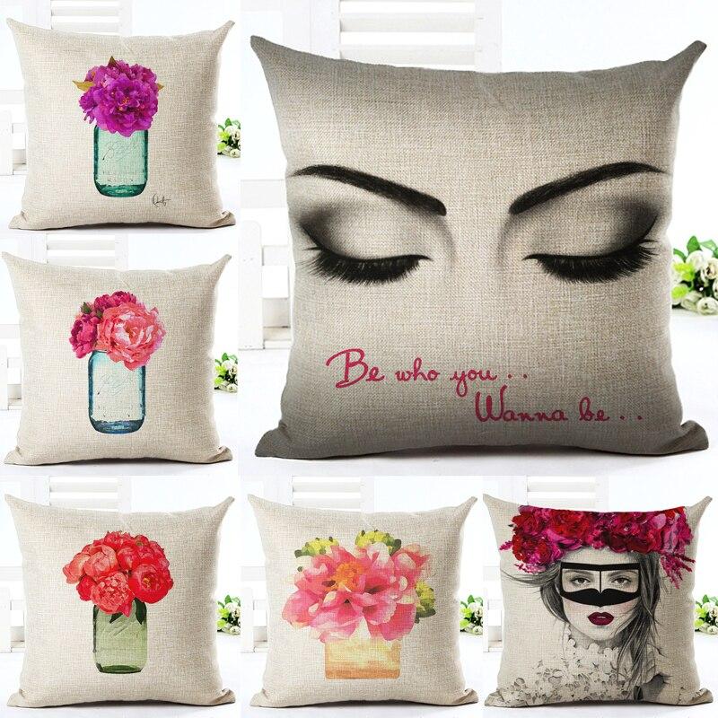 Cotton linen wearing flowers girl vase square 18 - Fundas cojines sofa ...