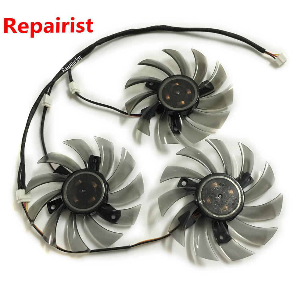 3Pcs/lot HD7870/R9 270X GPU Cooler 3Pin Graphics Card Fan For Gigabyte GV-R787OC-2GD GV-R787WF3 GV-R927XOC Card as Replacement flying elephant water cooled dedicated ati graphics card gpu waterblock 6850 6950 6970 7850 7870 r270x r280x