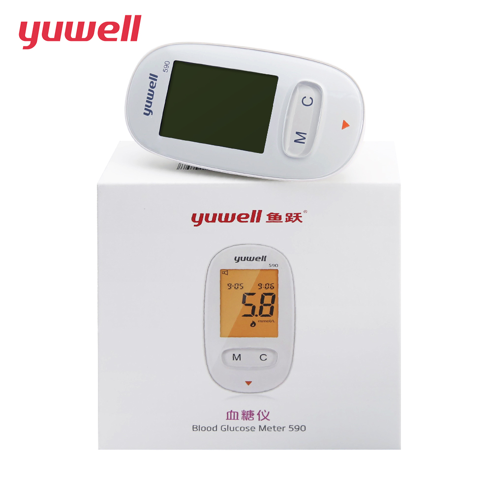 yuwell Glucometer Kit Blood Glucose Meter Medical Diabetic Blood Sugar Monitor Meter Digital Backlit LCD Health Equipment 590 cofoe yili blood glucose meter with 50 100pcs test strips and lancets needles for diabetic medical household monitor glucometer