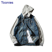 2017 Autumn Fashion Denim Bomber Jacket Men Fake Two Piece Jaqueta Masculino Streetwear Hooded Jeans Jackets