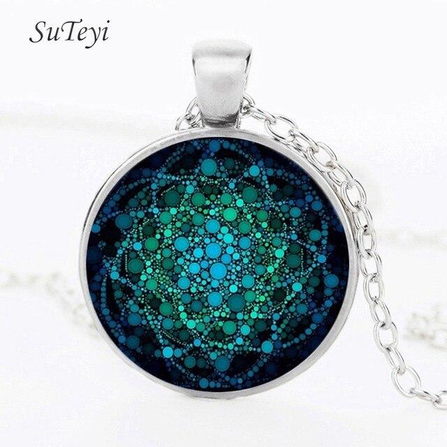 SUTEYI Neue Blume des Lebens Halskette Om Yoga Chakra Anhänger Mandala Halsketten Mode Glaskuppel Heiligen Geometrie Frauen Schmuck