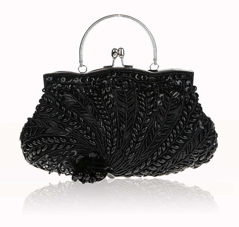 Fashion Black Ladies' Beading Beaded Banquet Handbag Clutch Party Bridal Evening Bag with Shoulder Chain Makeup Bag 03607 new fashion women party clutch bag pu leather hollow metal bow buckle evening bag female banquet handbag with shoulder chain