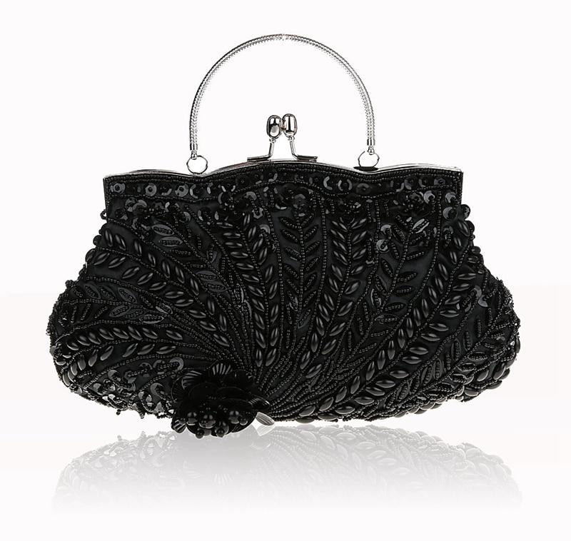 Fashion Black Ladies' Beading Beaded Banquet Handbag Clutch Party Bridal Evening Bag with Shoulder Chain Makeup Bag 03607