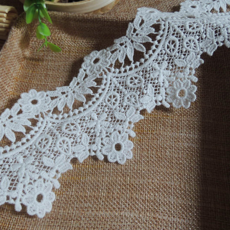 3Yards / Lot White Lace Trim Water Soluble Embroidery Cotton Lace DIY Lace Fabric Clothing Accessor RS1191