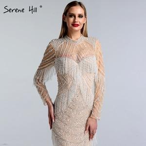 Image 4 - Dubai Luxury Mermaid Tassel Beading Evening Dresses 2020 New Long Sleeves Elegant Sexy Evening Gowns Serene Hill LA6662