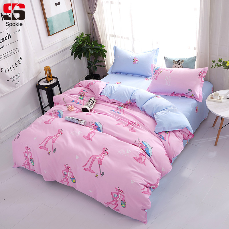sookie pink panther bedding set cartoon style duvet cover and pillowcases 3pcs bedclothes twin. Black Bedroom Furniture Sets. Home Design Ideas