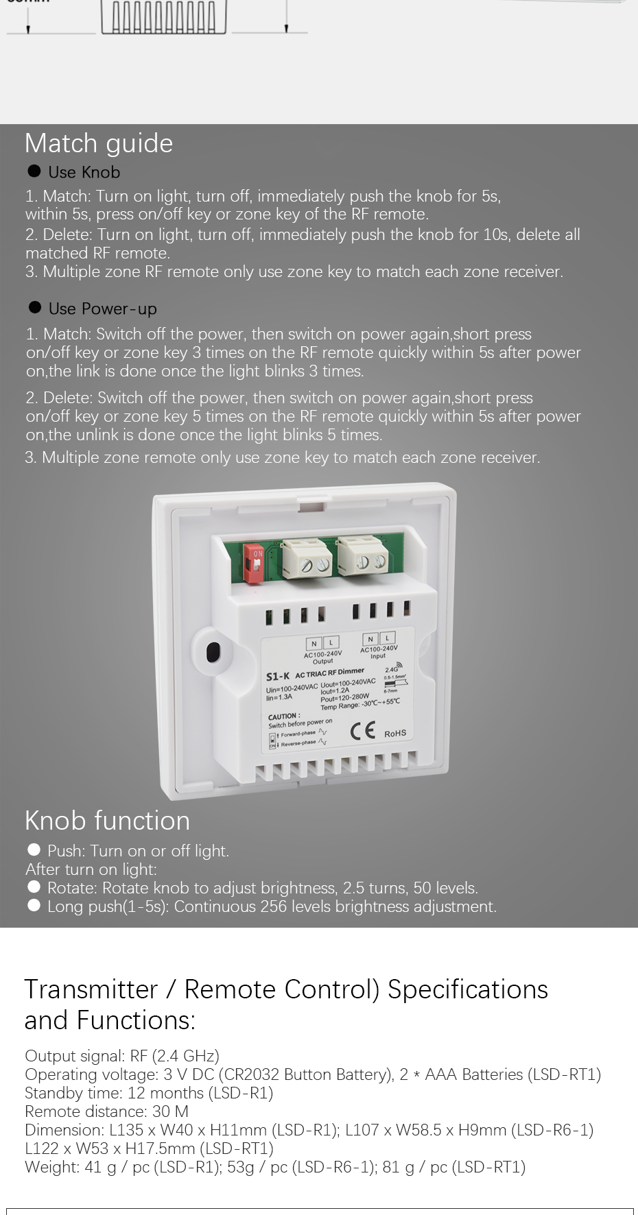 Ac Triac Led Dimmer 220v 110v Wireless Rf Rotary Glass Panel Dc Control For Triacs Multiple Zone Remote Only Use Key To Match Each Receiver