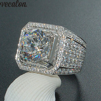 Vecalon Luxury Big Men White Gold Filled Ring Pave Setting 4ct Diamonique Cz Engagement Wedding Band