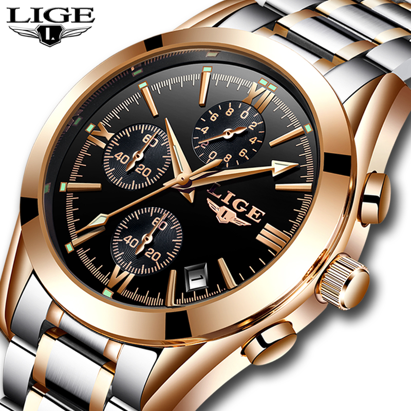 Watch men  Brand Luxury Fashion Quartz Watches Men Full Steel Military Clock Waterproof Gold Sport mens Watch Relogio Masculino new fashion mens watches gold full steel male wristwatches sport waterproof quartz watch men military hour man relogio masculino