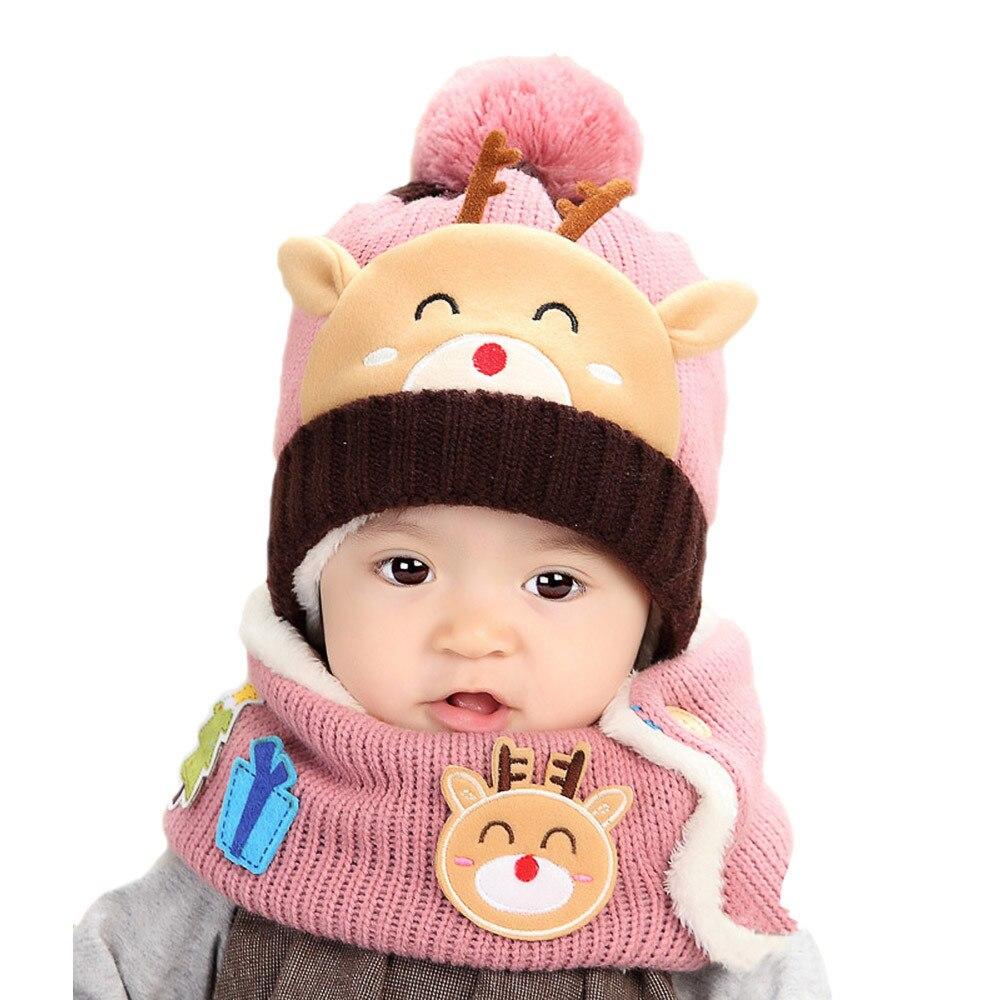 2 Stücke 0-4yrs Baby Hüte Mit Schal Pom Pom Gestrickte Cartoon Deer Kleinkind Herbst Winter Kinder Hut Für Junge Mädchen Beanie Caps 823 Verkaufsrabatt 50-70%
