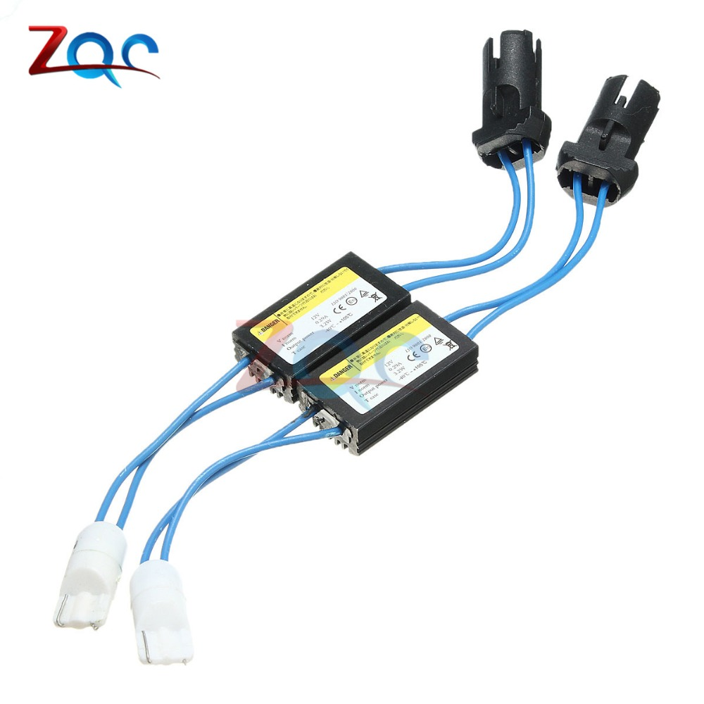 2PCS/Lot T10 T15 194 W5W 168 921 LED Bulb Canbus Error Free Warning Canceler Decoder Resistor Capacitor Wire Adapter 12V 0.29A