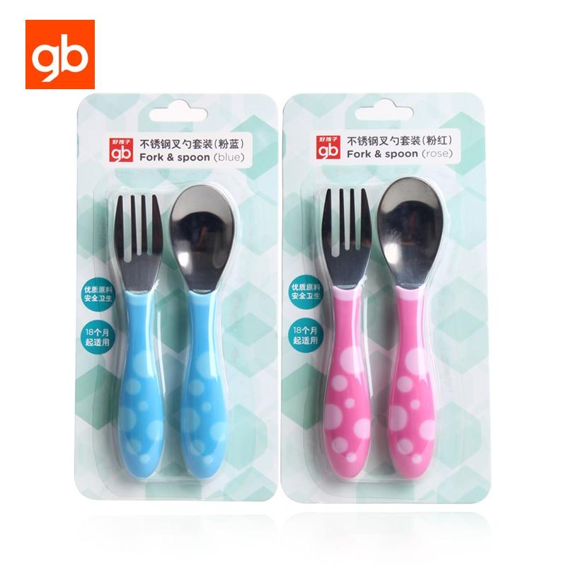 GB 2 Unids / set Acero Inoxidable Entrenador de Bebé Tenedores de - Alimentación
