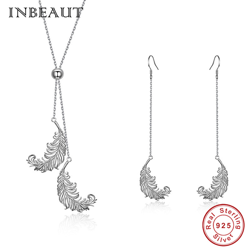 INBEAUT Vintage Feather Drop Earrings 925 Sterling Silver Double Feathers Pendant Necklace New Arrival Engagement Jewelry Set