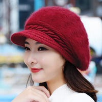 Women Artist Beret Cap Autumn Winter Thick Warm Vintage Solid Colors Soft Felt Wool Beanie Hat