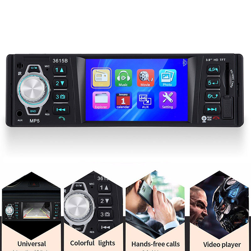 3.9 Mp5 Player Car Radio 1 DIN Bluetooth Hands-Free Multimidia Autoradio Audio Stereo Microphone Tf Usb Aux Fm In Dash n74u portable media player speaker magaphone w tf usb fm microphone black