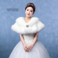 Free Shipping 22018 Winter Bridal Ladies Cute Dimensional Crystal Shawl Faux Fur Bridal Coats For Winter
