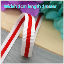 New Selling 1CM Red White stripe ribbons men and women T-shirts clothing accessories shoes and hats decorative ribbons belts 1M(China)