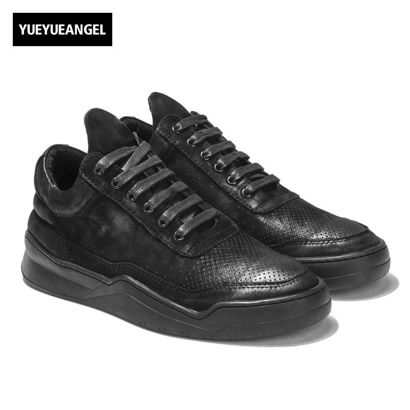 Italian Designer Retro Real Cow Leather Shoes Men Fashion High Top Trainer Sneakers Thick Platform Lace Up Casual Zapatos Hombre 2018 spring new men gothic slip on loafers casual genuine leather thick platform sneakers high top trainer shoes zapatos hombre