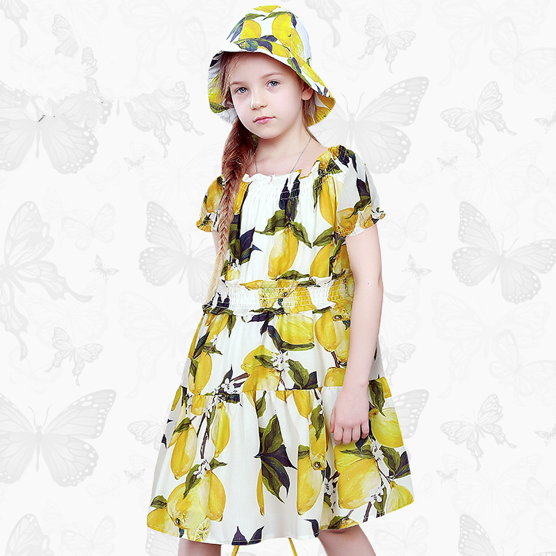 W.L.Monsoon Children's clothing Girls dress Summer dress Puff sleeves lemon child Princess dress Girl dress new arrival children s dress summer spring fall girl princess dress 100% cotton short sleeves girls dress 4 9y