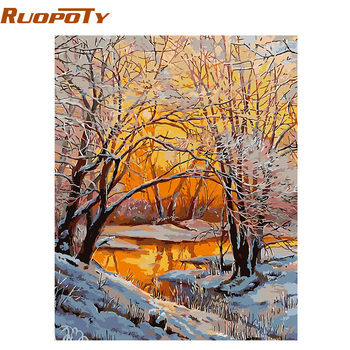 RUOPOTY Frame Snow DIY Painting By Numbers Landscape Hand Painted Oil Painting Home Decor Acrylic Modern Wall Art Picture 40x50 ruopoty frame mountain lake diy painting by numbers landscape handpainted oil painting modern home wall art canvas painting art