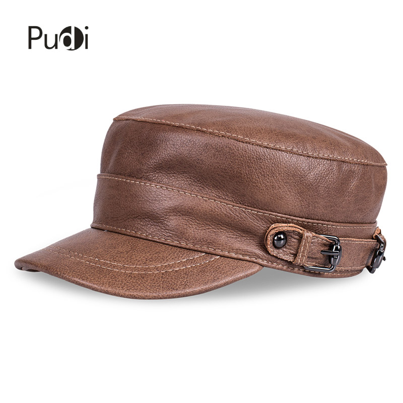 HL108 men's real leather baseball cap hat 2017 new autumn spring Russian boys navy army caps aviator Fisherman Flap hats men s genuine leather baseball cap hat brand new spring real cow leather beret caps hats