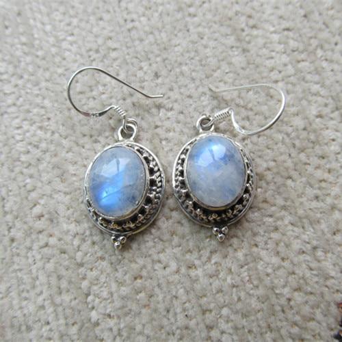 Nepal Silver Sterling Silver Earrings Inlaid Moonstone Number
