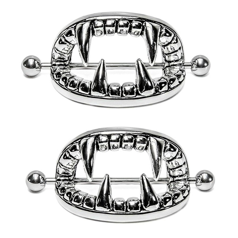 A Pair Vintage Tribal Silver 14G Vampire Teeth Nipple -6539