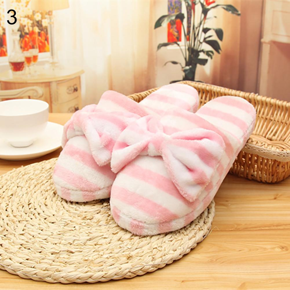 Women\'s Soft Sweet Bowknot Striped Bedroom Indoor Home Warm Shoes Slipper Winter Gift sweet women s tote bag with metallic and bowknot design