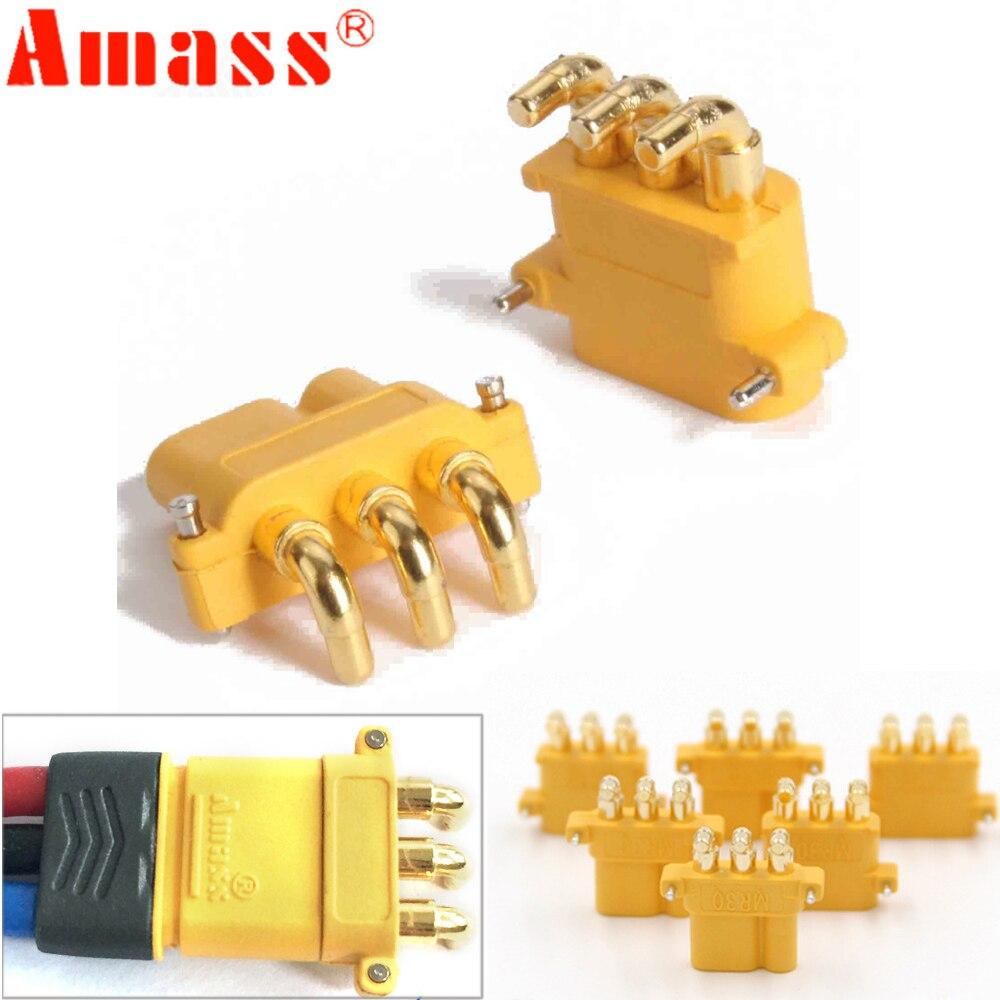 100 x AMASS MR30PW MR-30 PCB trois broches mâle femelle 2mm connecteurs de balle prises RC Lipo batterie (50 paire)