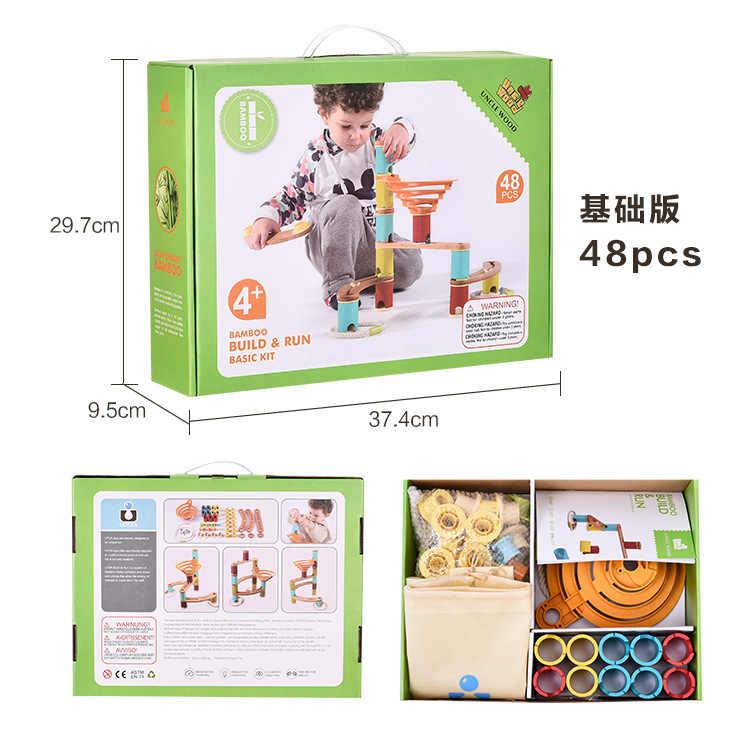 Kinderen Knikkers en Bal Track Sets Creatieve Blokken Track Speelgoed DIY Puzzel Bamboe bouwen Run jumbo Kit Micro Blokken fantasy