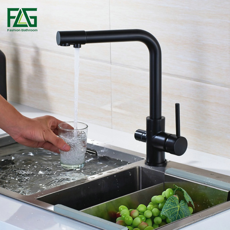 FLG Free Shipping Kitchen Faucet Drinking Water Filter Deck Mounted Torneira Cozinha Dual Handle Faucets Mixer 3 Way Kitchen Tap все цены