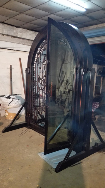 Hench Custom Design Luxury Wrought Iron Entry Doors DDU Shipping To USA Home HC D1