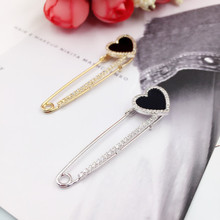 New Vintage Zircon Large Pins Fashion Sweater Scarf Suit Heart Brooches for Women Men Collar Pin badge Broches Jewelry