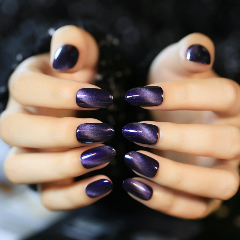 24 pcs Acrylic materials fake Nail Tips Grape Purple Cat ...